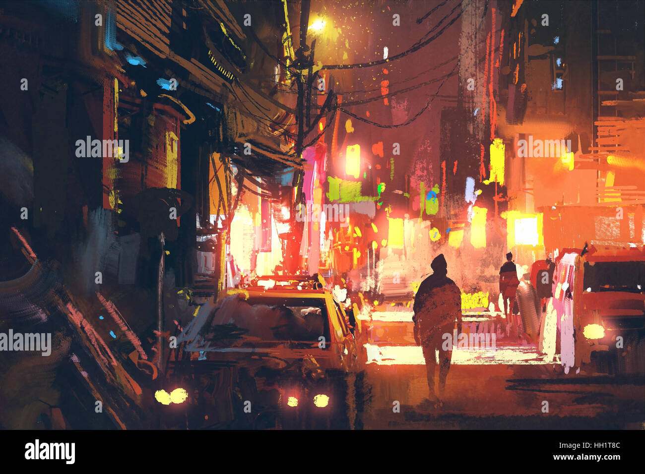 old street in the futuristic city at night with colorful light,sci-fi concept,illustration painting - Stock Image