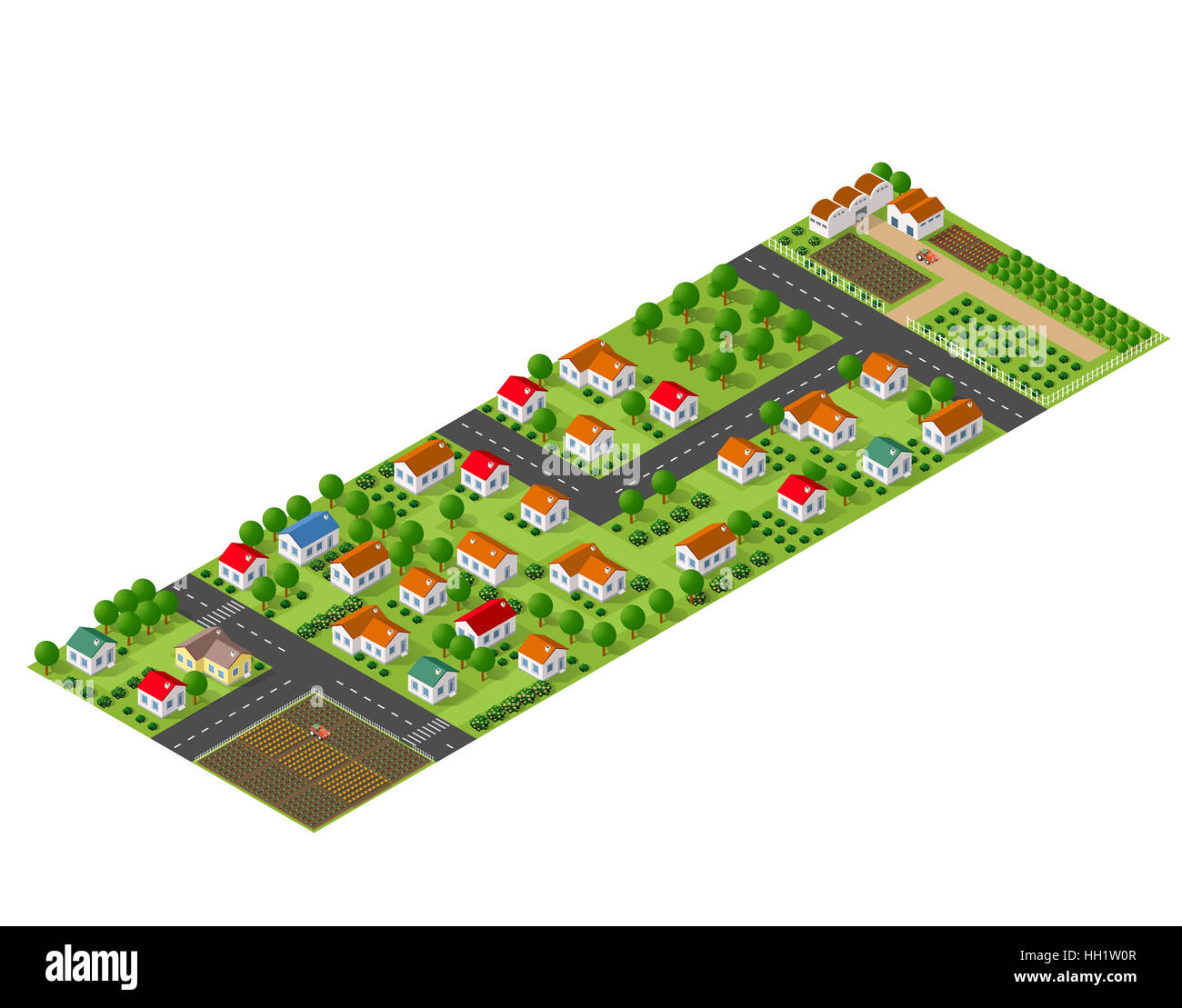Isometric perspective view of a rural area with village houses, gardens, trees and farms - Stock Image