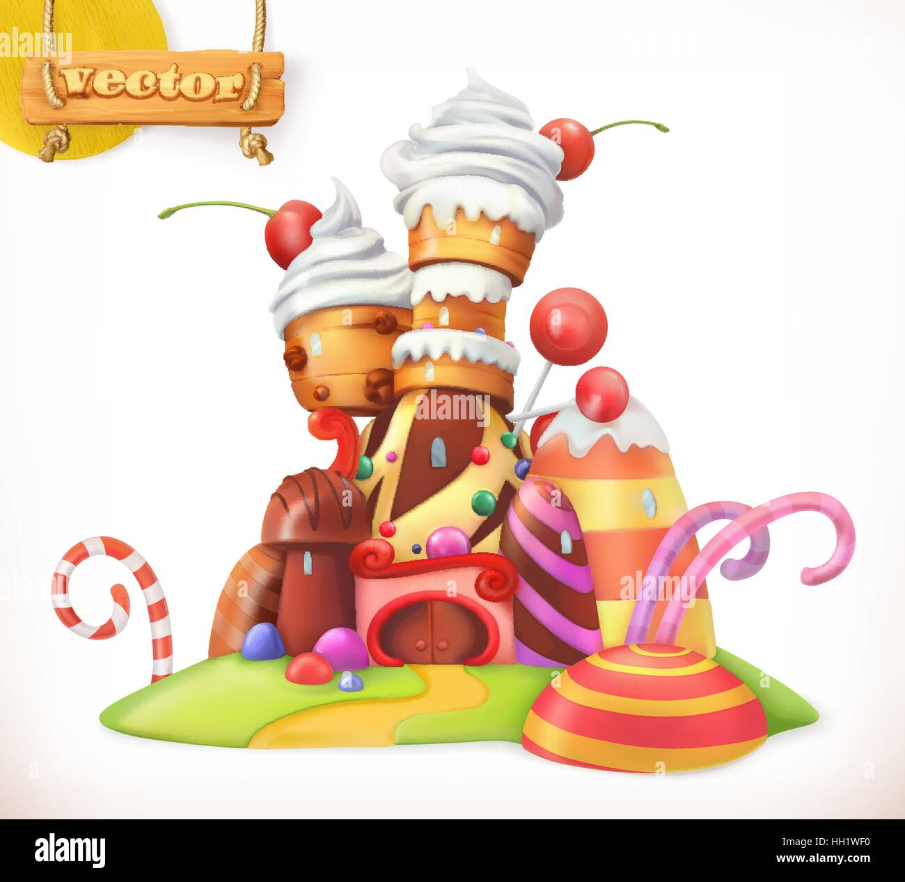 Sweet castle. Gingerbread house. Cake, cupcake, candy. 3d vector icon - Stock Vector