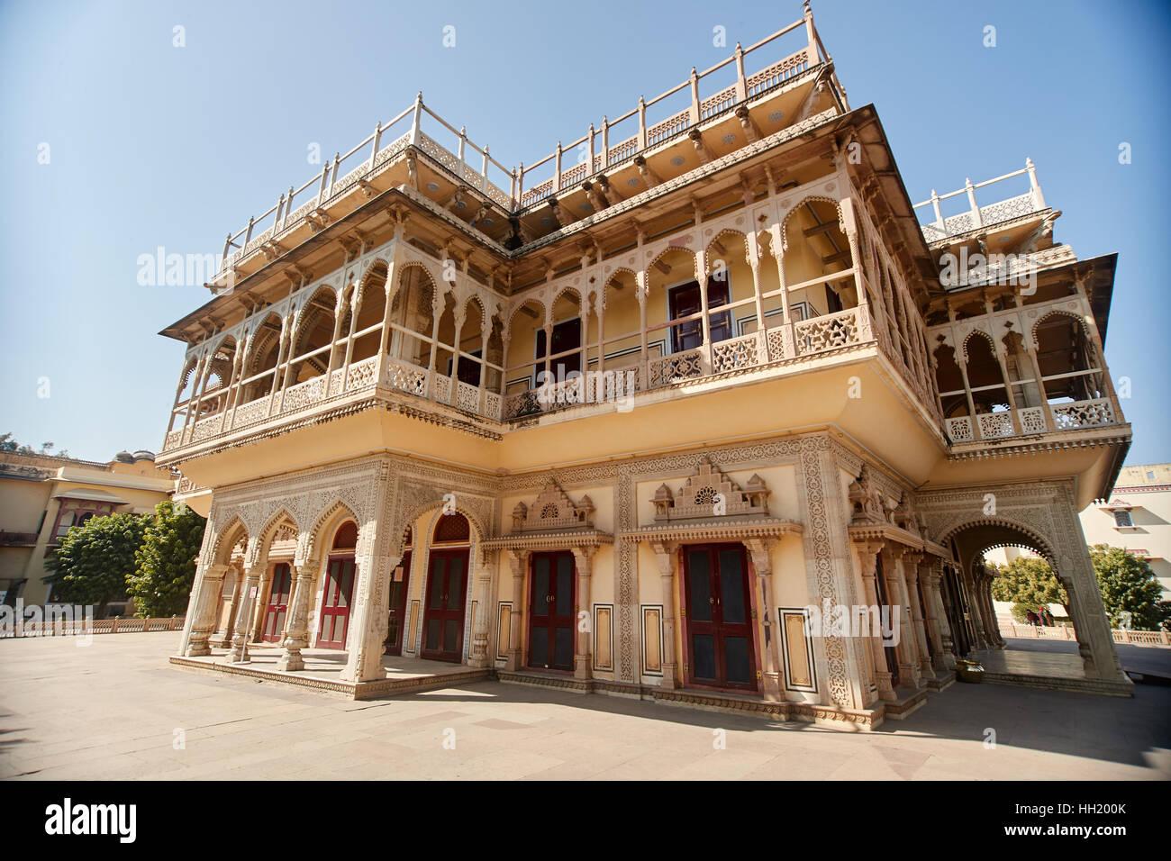 Chandra Mahal museum, City Palace at Pink City, Jaipur, Rajasthan, India. Stock Photo
