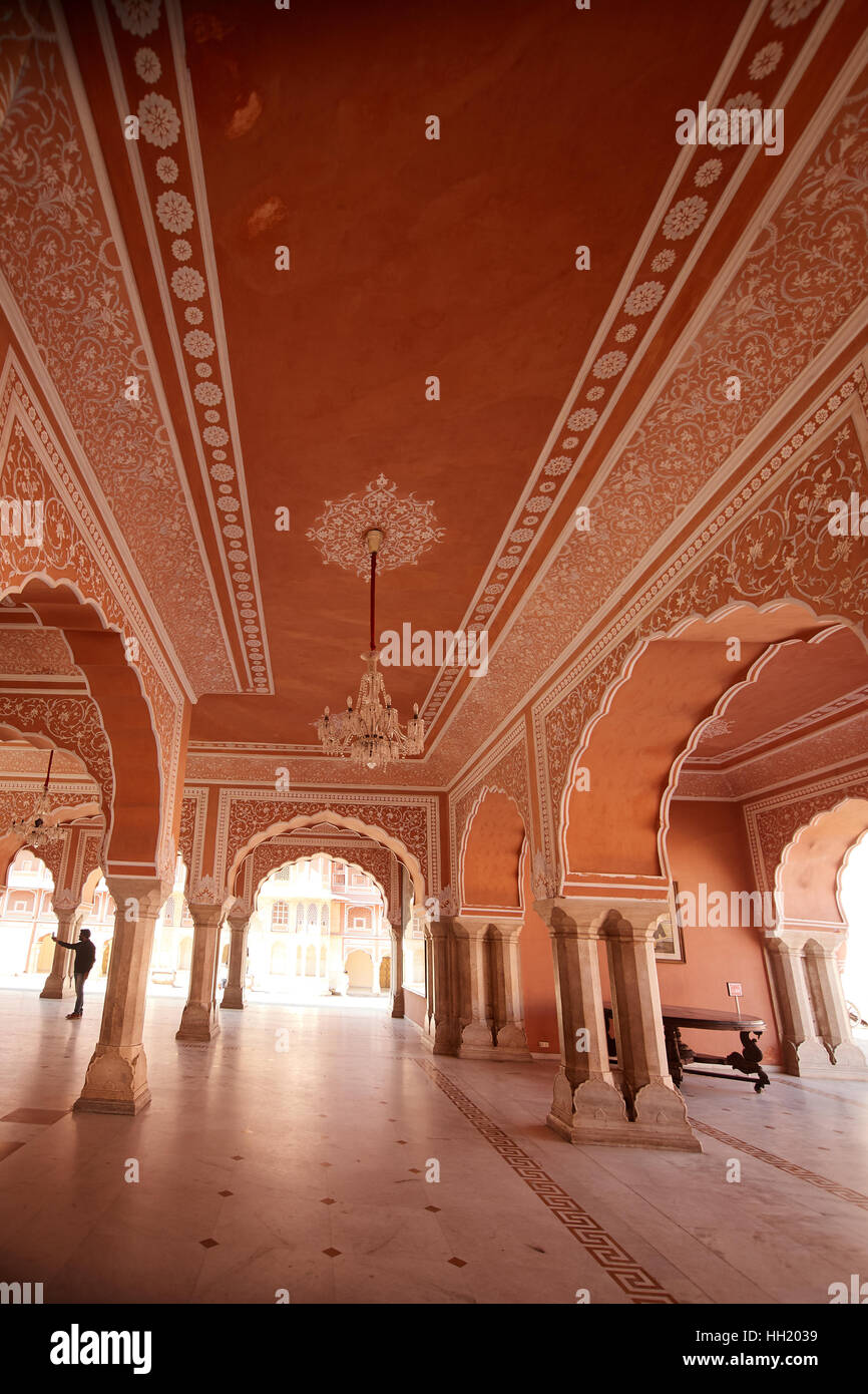 Chandra Mahal museum, City Palace at Pink City, Jaipur, Rajasthan, India. Stock Photo