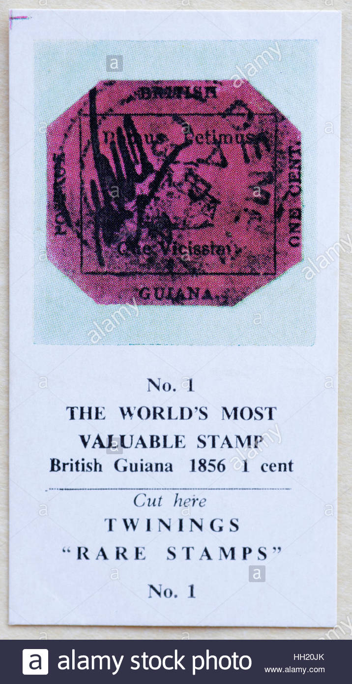The World's Most Valuable Stamp, British Guiana 1856 1 cent - Twinings Tea Trade Card Issued in 1960 - Stock Image