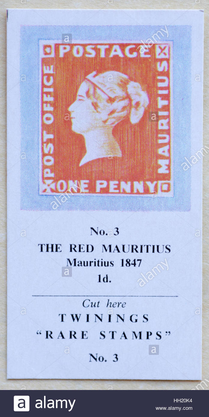 The Red Mauritius 1847 1d - Twinings Tea Trade Card Issued in 1960 - Stock Image
