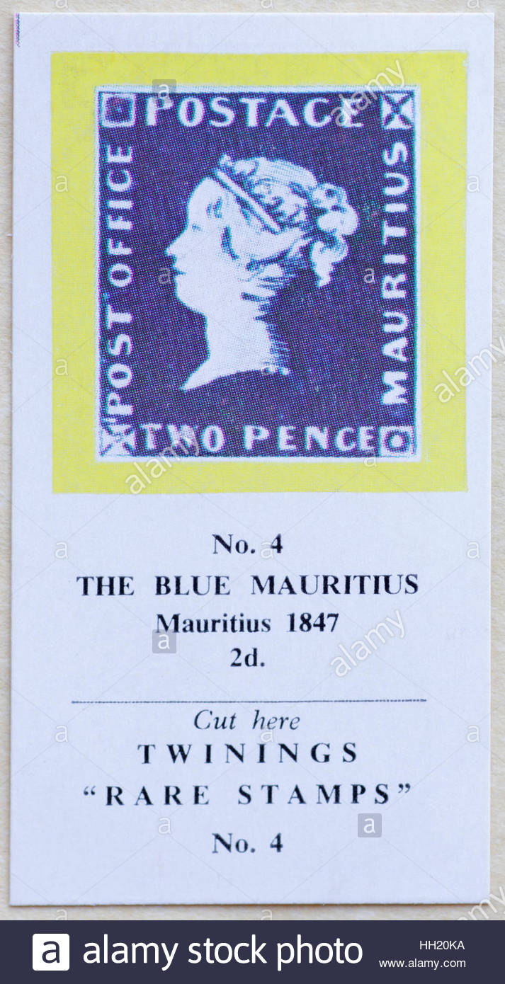 The Blue Mauritius 1847 2d - Twinings Tea Trade Card Issued in 1960 - Stock Image