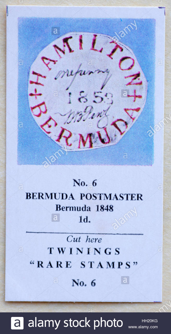 Bermuda Postmaster 1848 1d - Twinings Tea Trade Card Issued in 1960 - Stock Image
