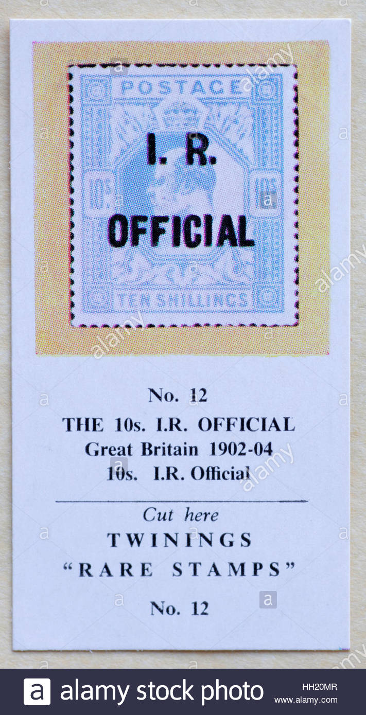 The 10s I.R. Official Great Britain 1902-04 - Twinings Tea Trade Card Issued in 1960 - Stock Image