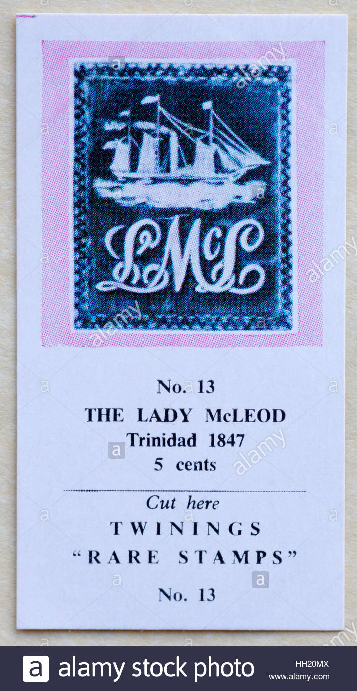 The Lady McLeod Trinidad 1847 5 cents - Twinings Tea Trade Card Issued in 1960 - Stock Image