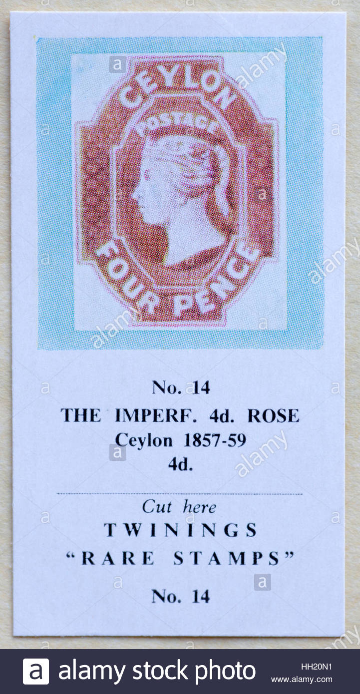 The Imperf 4d Rose Ceylon 1857-59 4d - Twinings Tea Trade Card Issued in 1960 - Stock Image