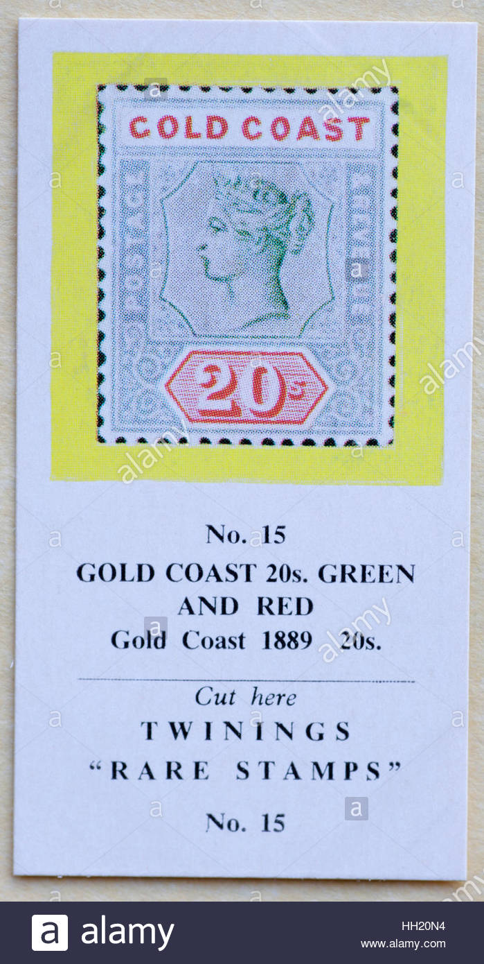 Gold Coast 20s Green and Red 1889 20s - Twinings Tea Trade Card Issued in 1960 - Stock Image
