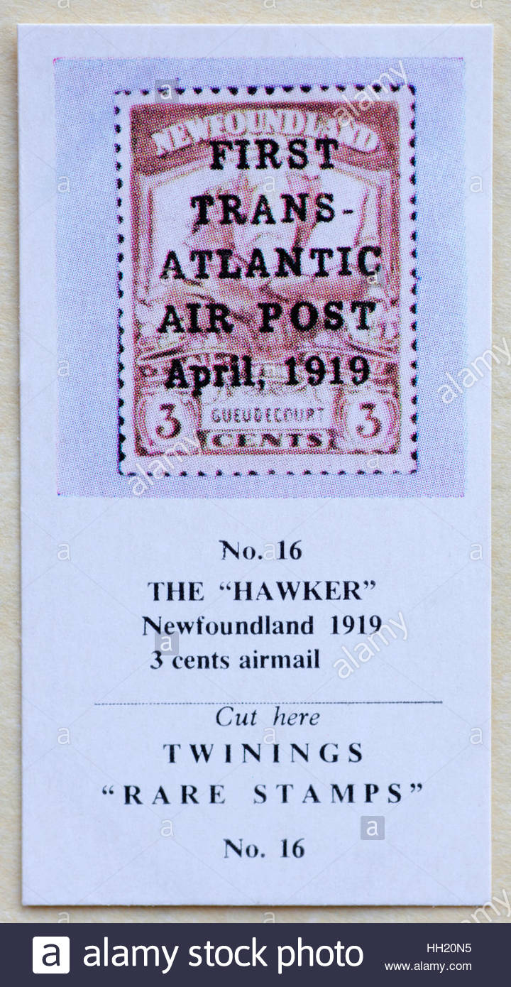 The Hawker Newfoundland 1919 3 cents airmail - Twinings Tea Trade Card Issued in 1960 - Stock Image