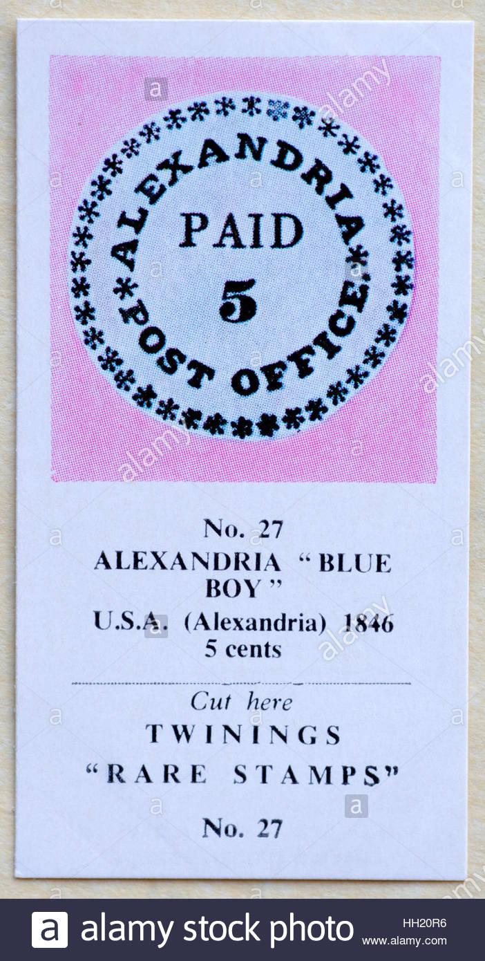 Alexandria Blue Boy USA 1846 5 Cents - Twinings Tea Trade Card Issued in 1960 - Stock Image