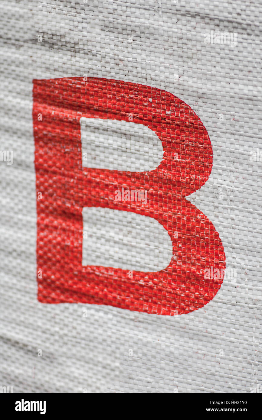 Red Letter B printed on a sack - Stock Image