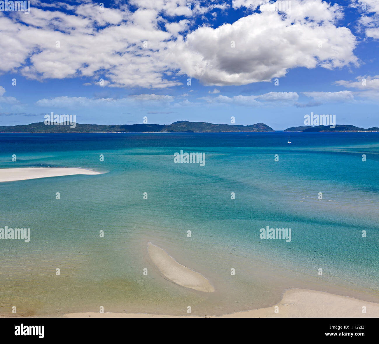 Whitehaven island white silica sand beach in aerial view from above. Flat and shallow bay covered by clean tiding - Stock Image