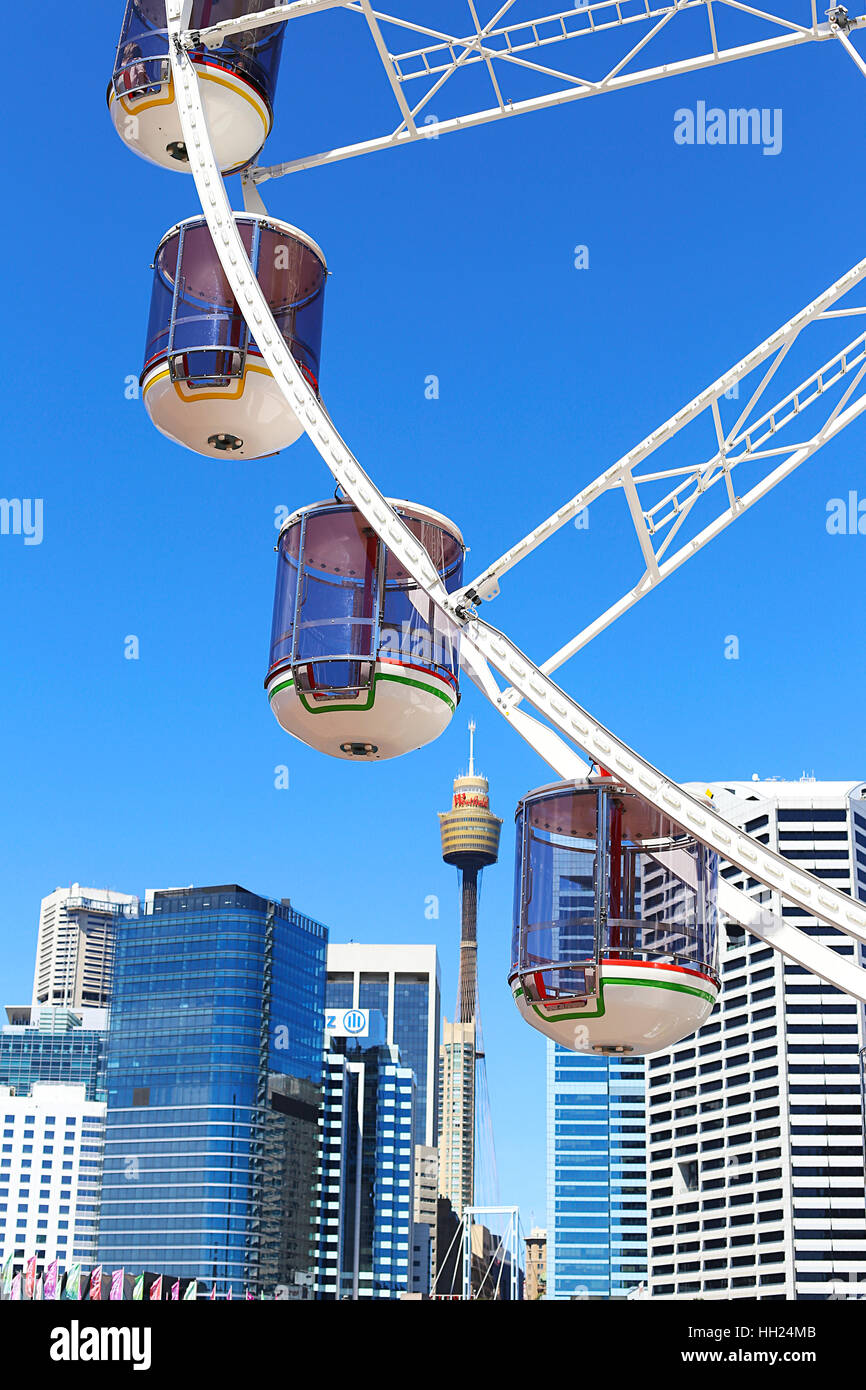 SYDNEY, AUSTRALIA - NOVEMBER 25, 2016: Detail of the Star of the Show ferris wheel in Sydney. It is a 32m high wfeel - Stock Image