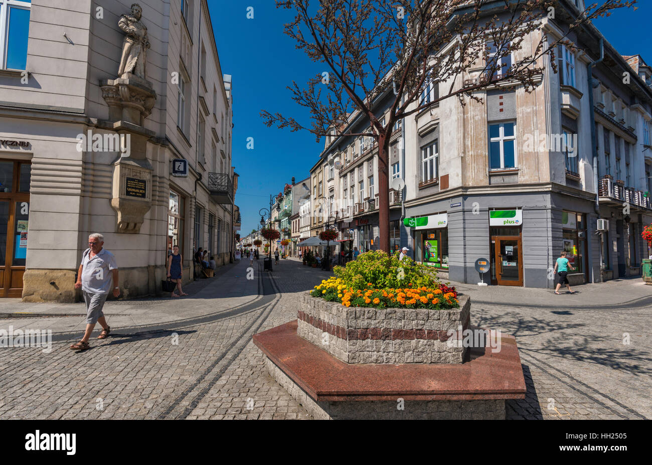 Ulica Jagiellonska pedestrian area on hot summer day in Nowy Sacz, Malopolska, Poland - Stock Image