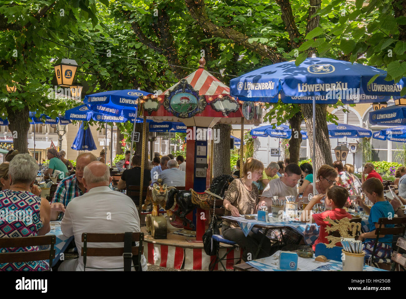 German beer garden - Lowenbrau Beer Garden, Gasthaus Lowenbrau, Baden Baden, Germany - Stock Image