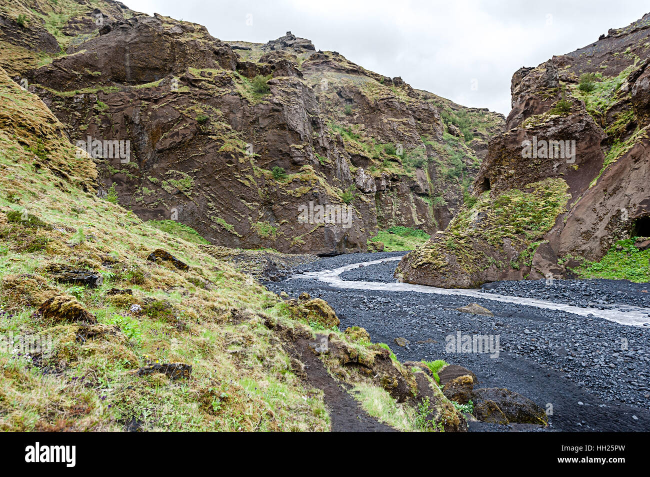 Thórsmörk is a mountain ridge in Iceland that was named after the Norse god Thor (Þór). - Stock Image