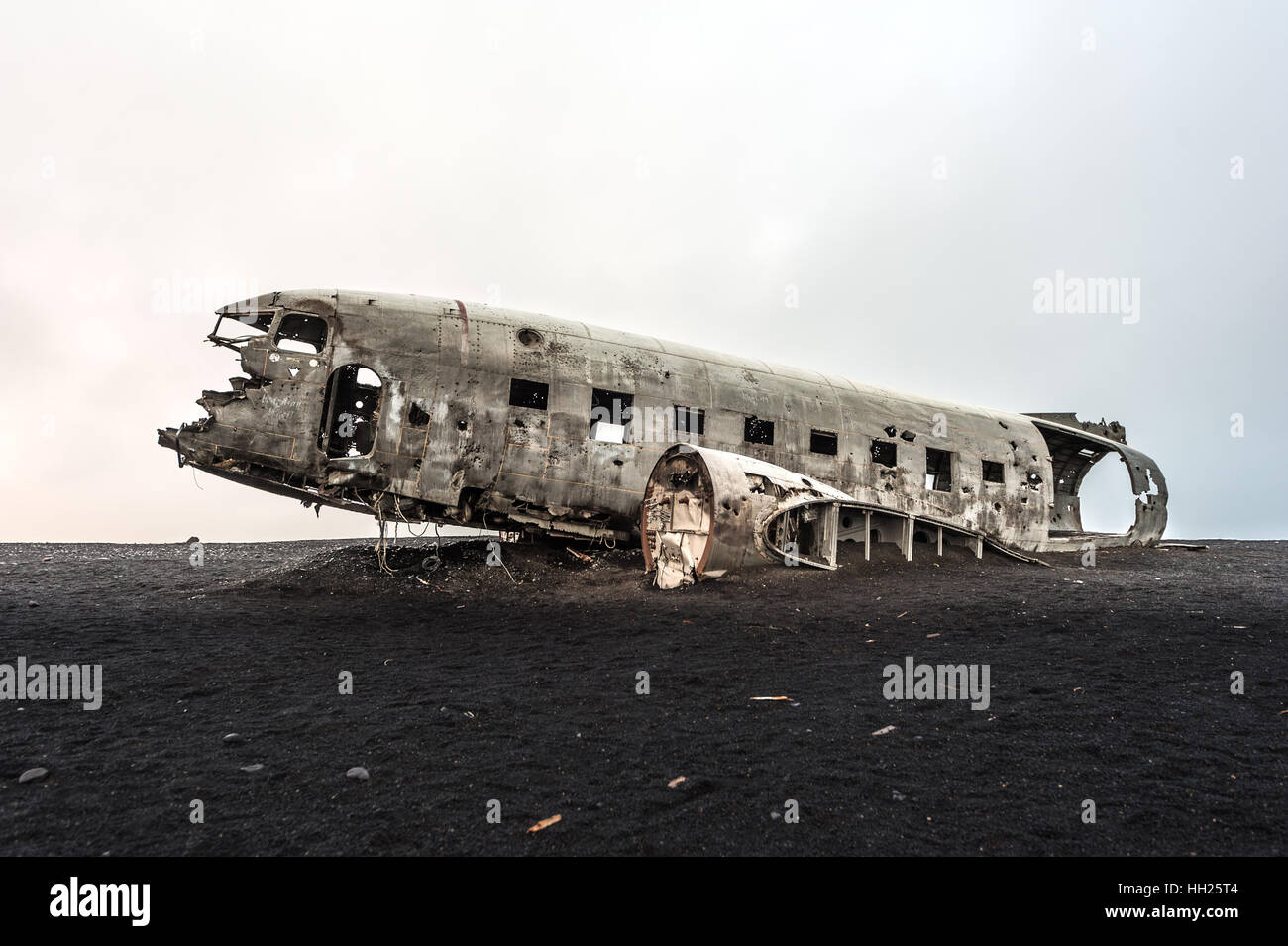 Wreck of a US military plane crashed in Iceland Stock Photo