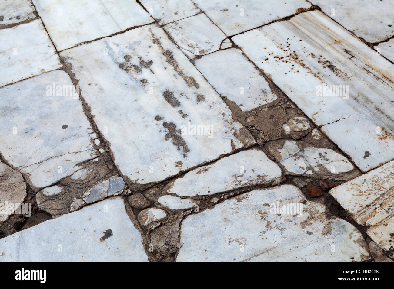 Cracked and grunge marble floor full frame - Stock Image