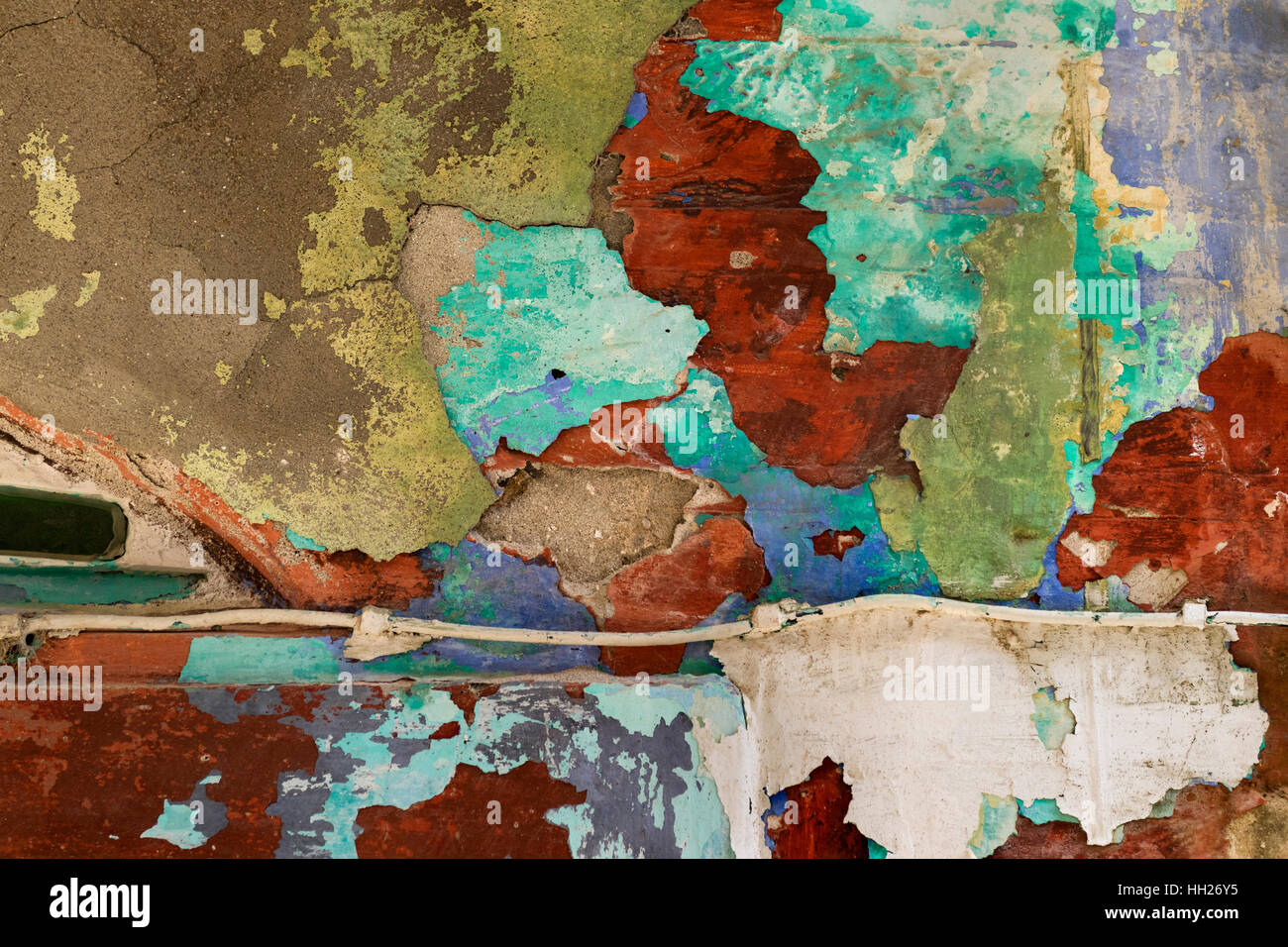 Old wall with cracks and paint stains - Stock Image