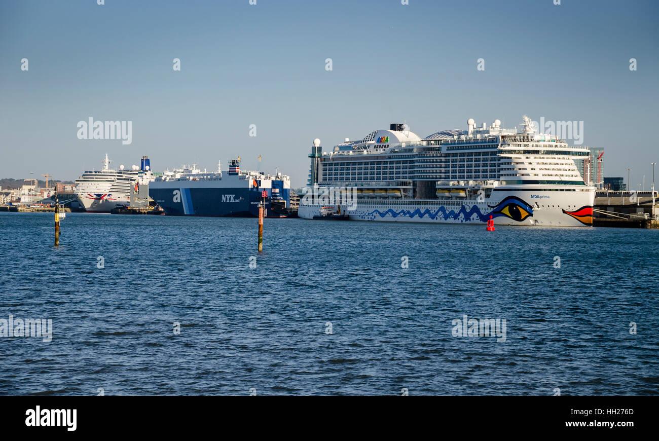 aida cruise ship in port at southampton docks - Stock Image