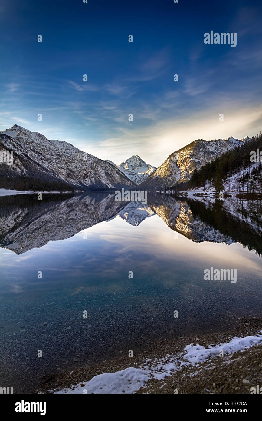 Plansee (Plan Lake) at wintertime, Alps, Austria Stock Photo