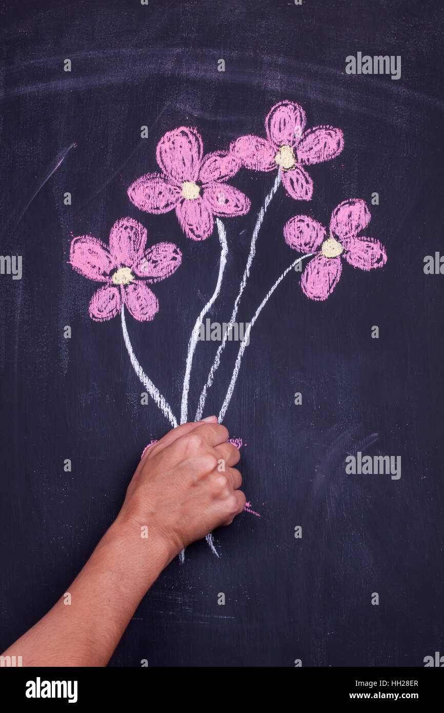 chalk drawing flowers - Stock Image