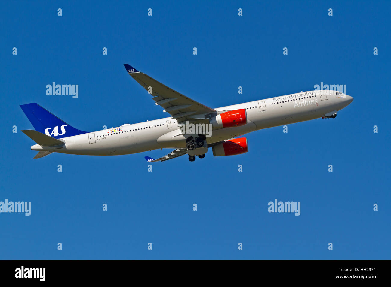 Airbus A330-300 Enhanced, recently delivered to SAS, 2015, as first of four, LN-RKR, flight SK925 takes off from - Stock Image