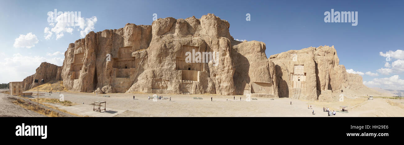 NAQSH-E ROSTAM, IRAN - OCTOBER 6, 2016: Necropolis of the Achaemenid kings in Naqsh-e Rostam on October 6, 2016 - Stock Image