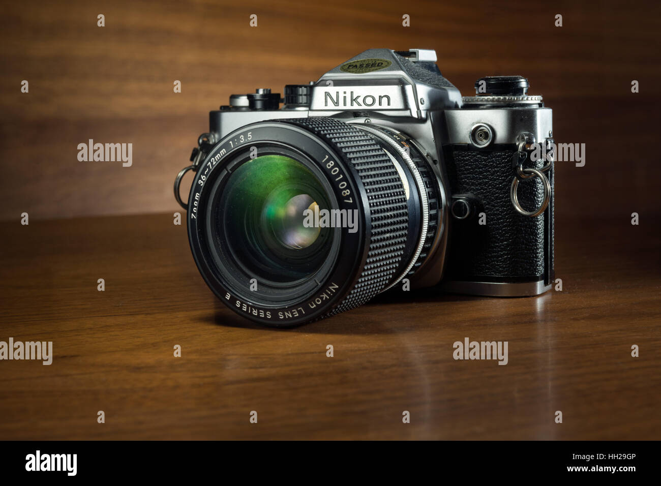 A classic, collectible Nikon FE 35mm SLR film camera from the early 1980's - Stock Image