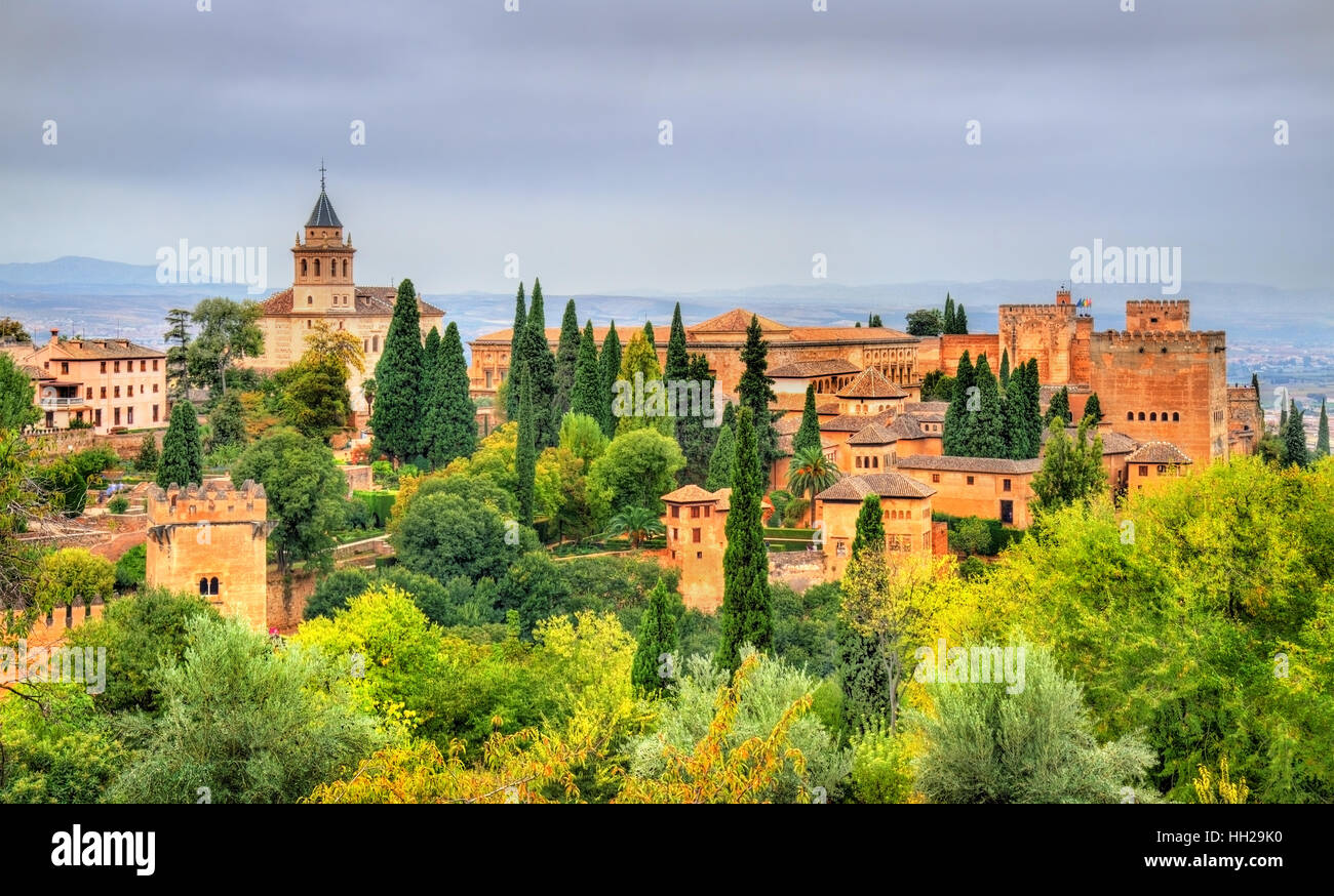 Panorama of the Alhambra, a palace and fortress complex in Granada, Spain - Stock Image