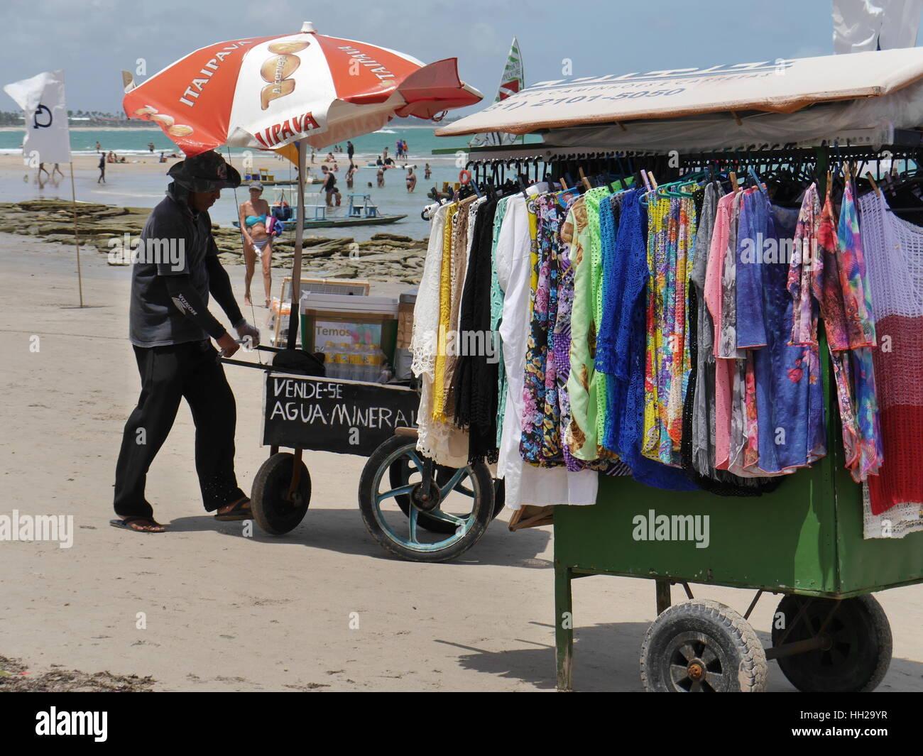 Beach vendors at Porto de Galinhas - Stock Image