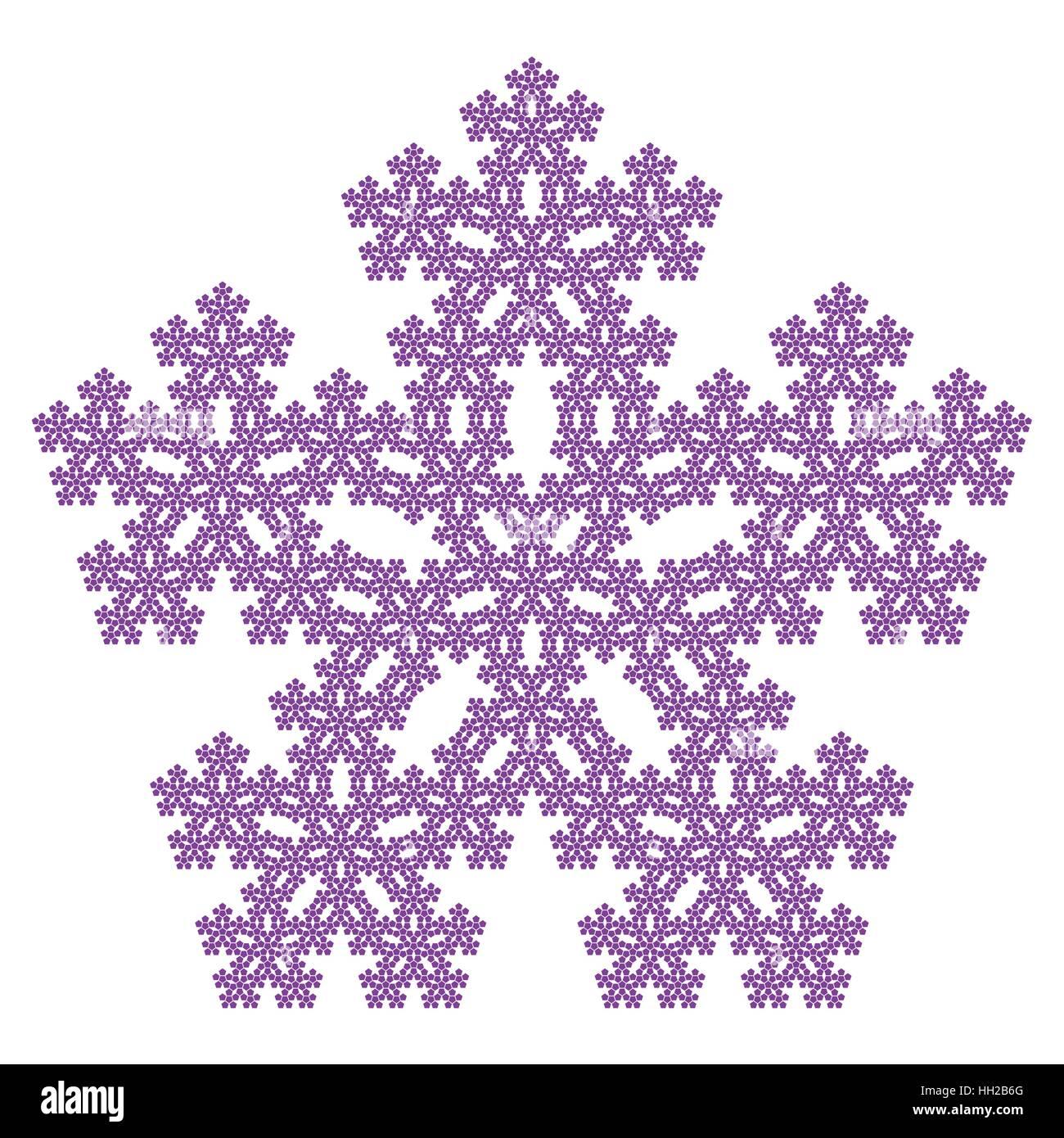sierpinski pentagon pentaflake with center fractal vector stock