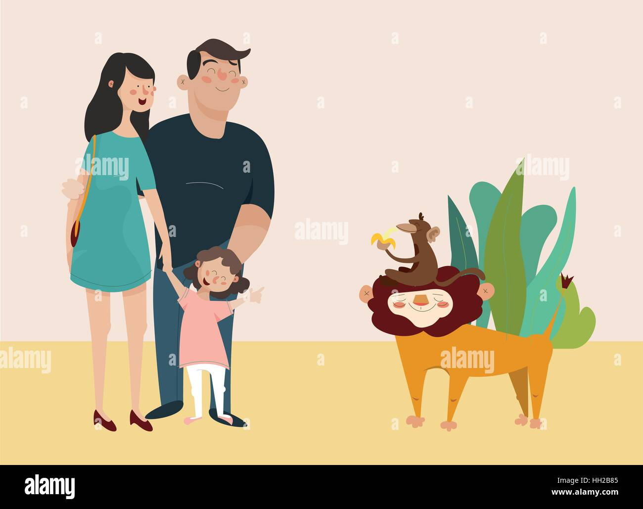 children s vector illustration. Young family looking at the lion in the zoo - Stock Vector