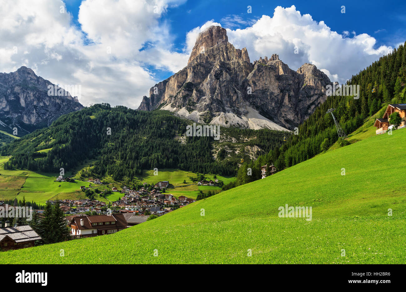 overview of Corvara in Badia town and Sassongher mount, south Tyrol, Italy Stock Photo