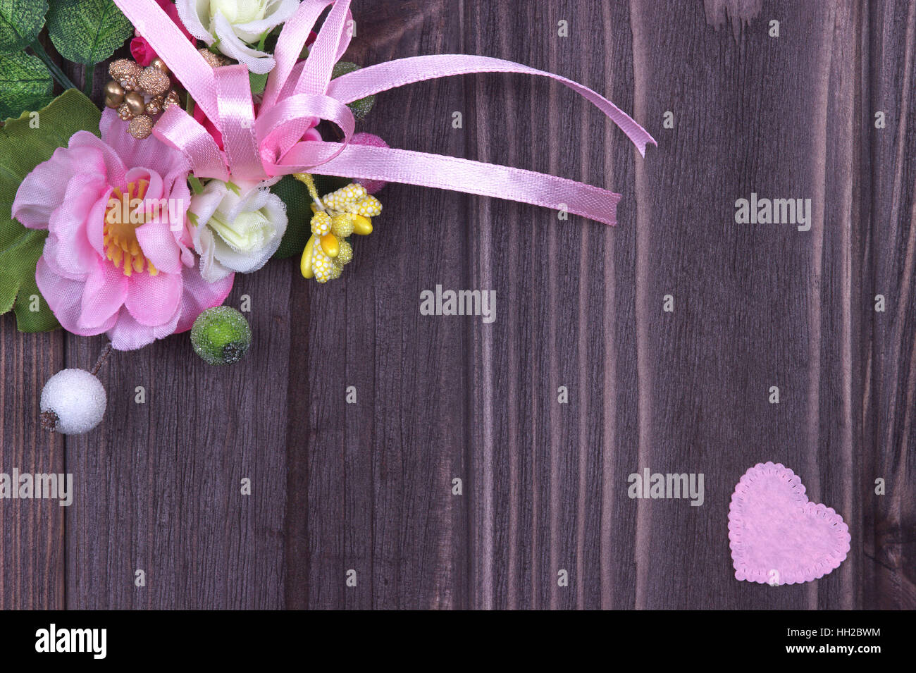 Valentines day decoration background card with pink ribbon, flowers ...