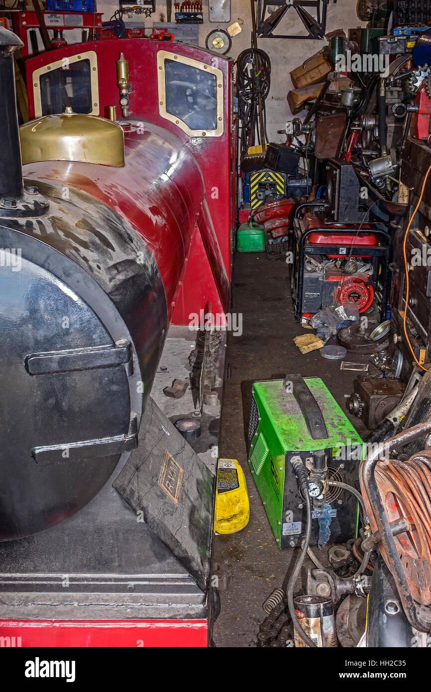 Engine In Repair Shop Miniature Railway Hastings East Sussex UK - Stock Image