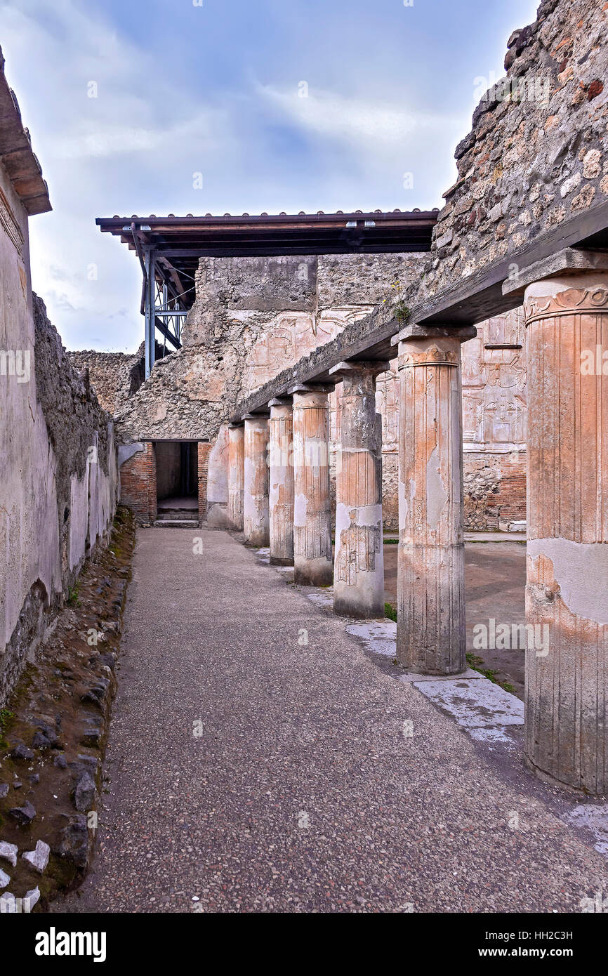 Colonnade Thermal Baths of Stabys Pompeii Campanla Italy - Stock Image