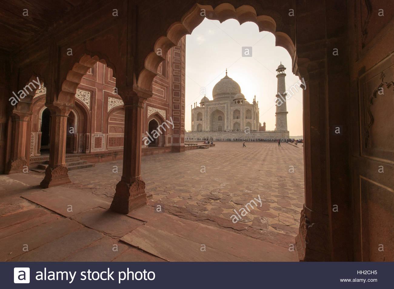 Taj Mahal during sunset. - Stock Image