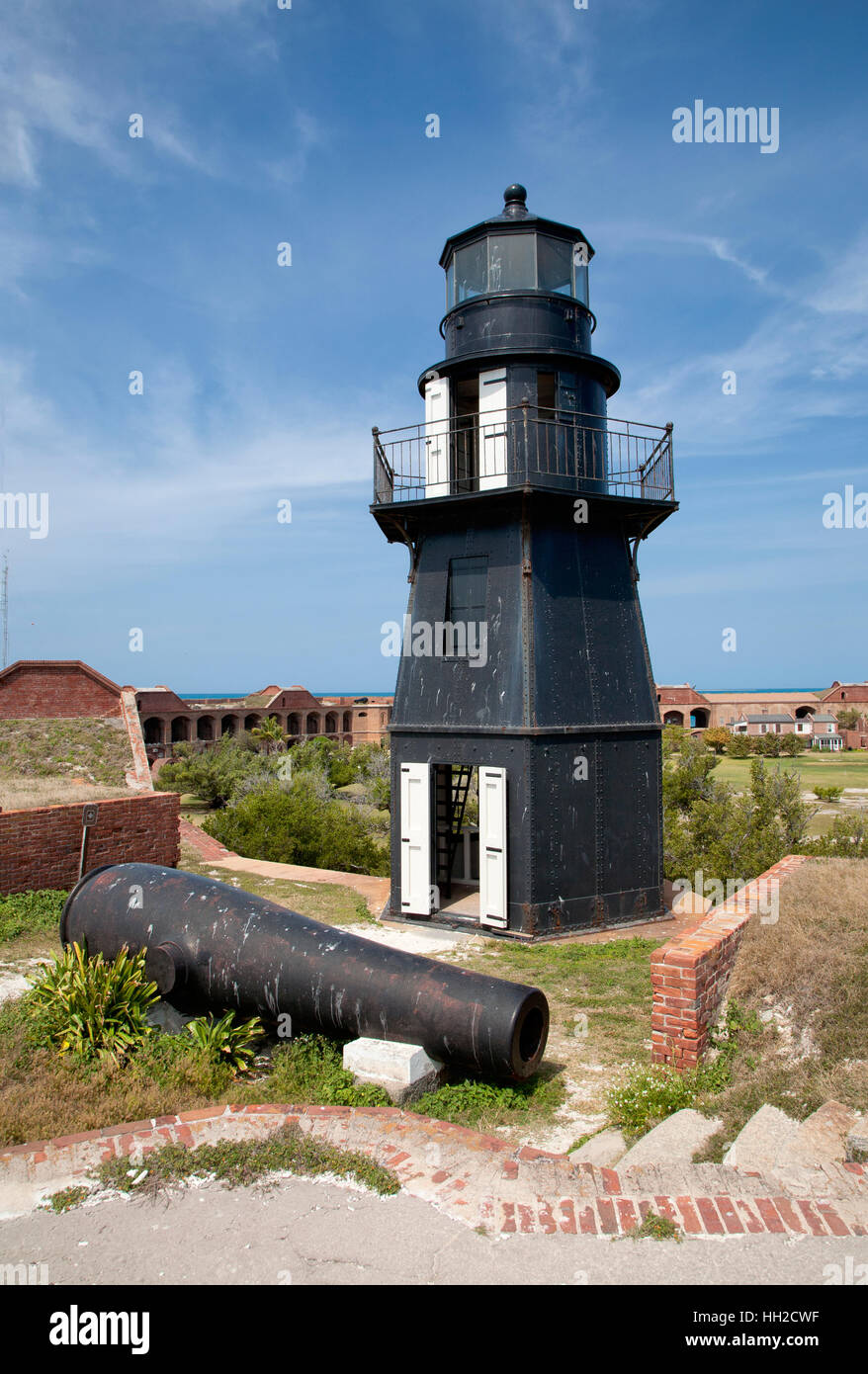 Dry Tortugas National Park - Garden Key Lighthouse - Bastion C-Fort Jefferson - Stock Image