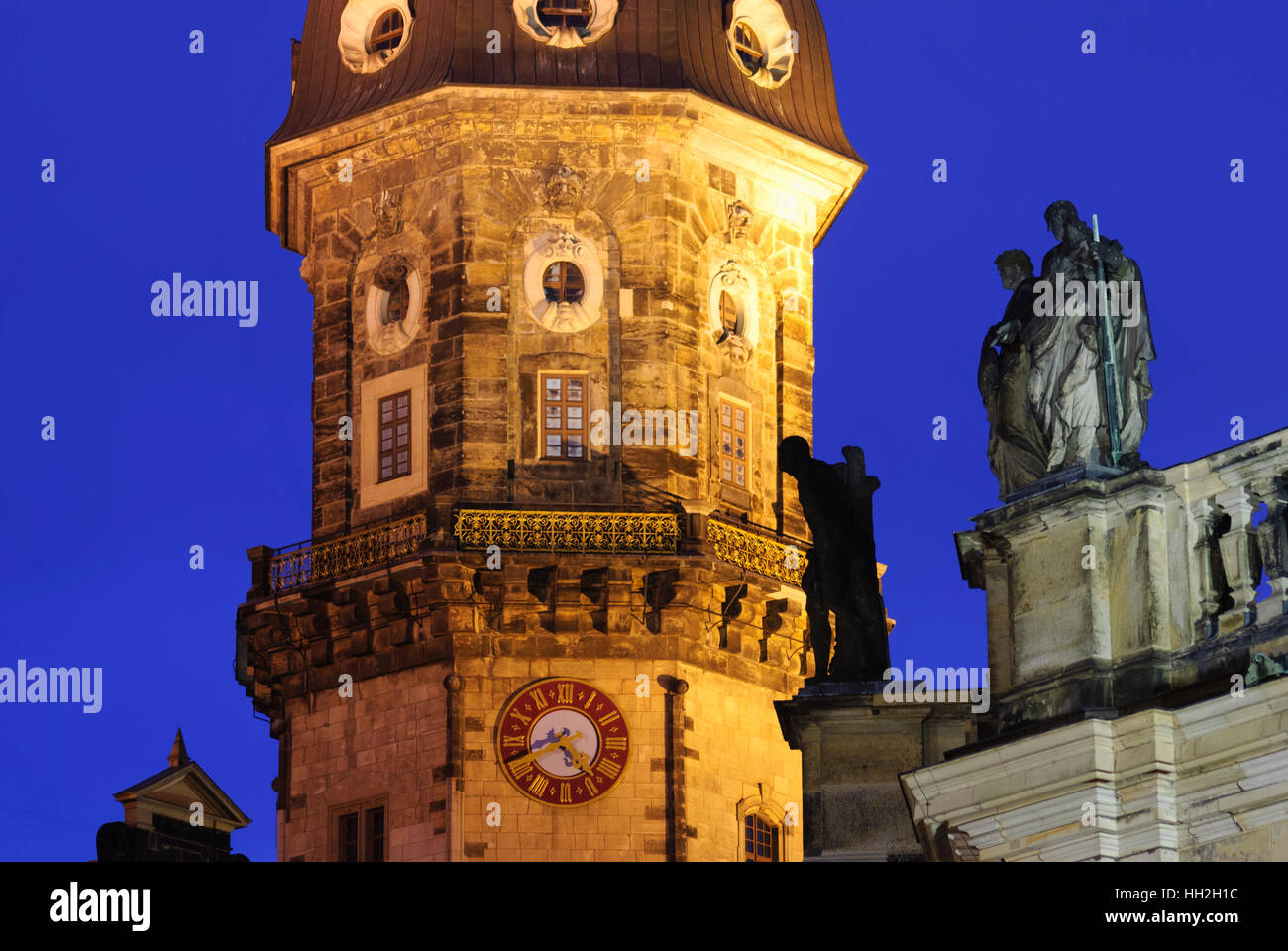Dresden: Castle tower and saint's statues on the roof of the cathedral, , Sachsen, Saxony, Germany - Stock Image