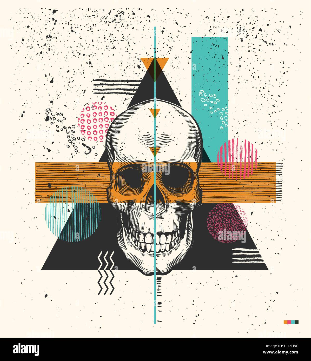 Human skull drawn in woodcut retro style and triangles, rectangles and circles of different colors and textures Stock Vector