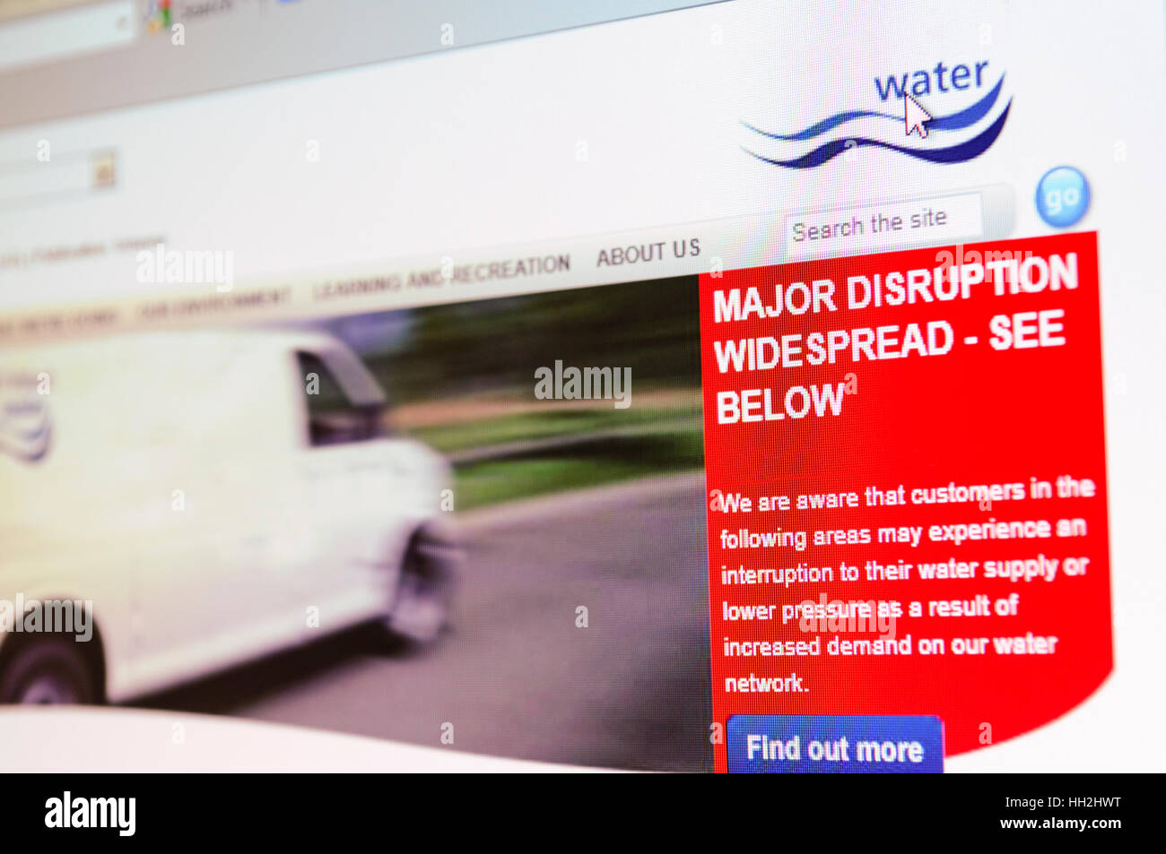Belfast, Northern Ireland. 31 Dec 2010 - Water company's website warns of continued major disruption to water - Stock Image