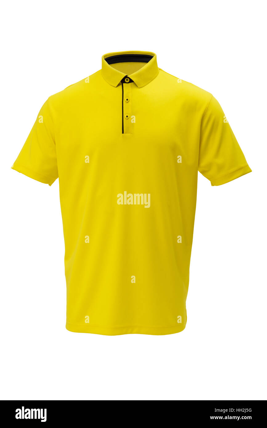 Yellow with black trim golf  tee shirt for man or woman on white background - Stock Image