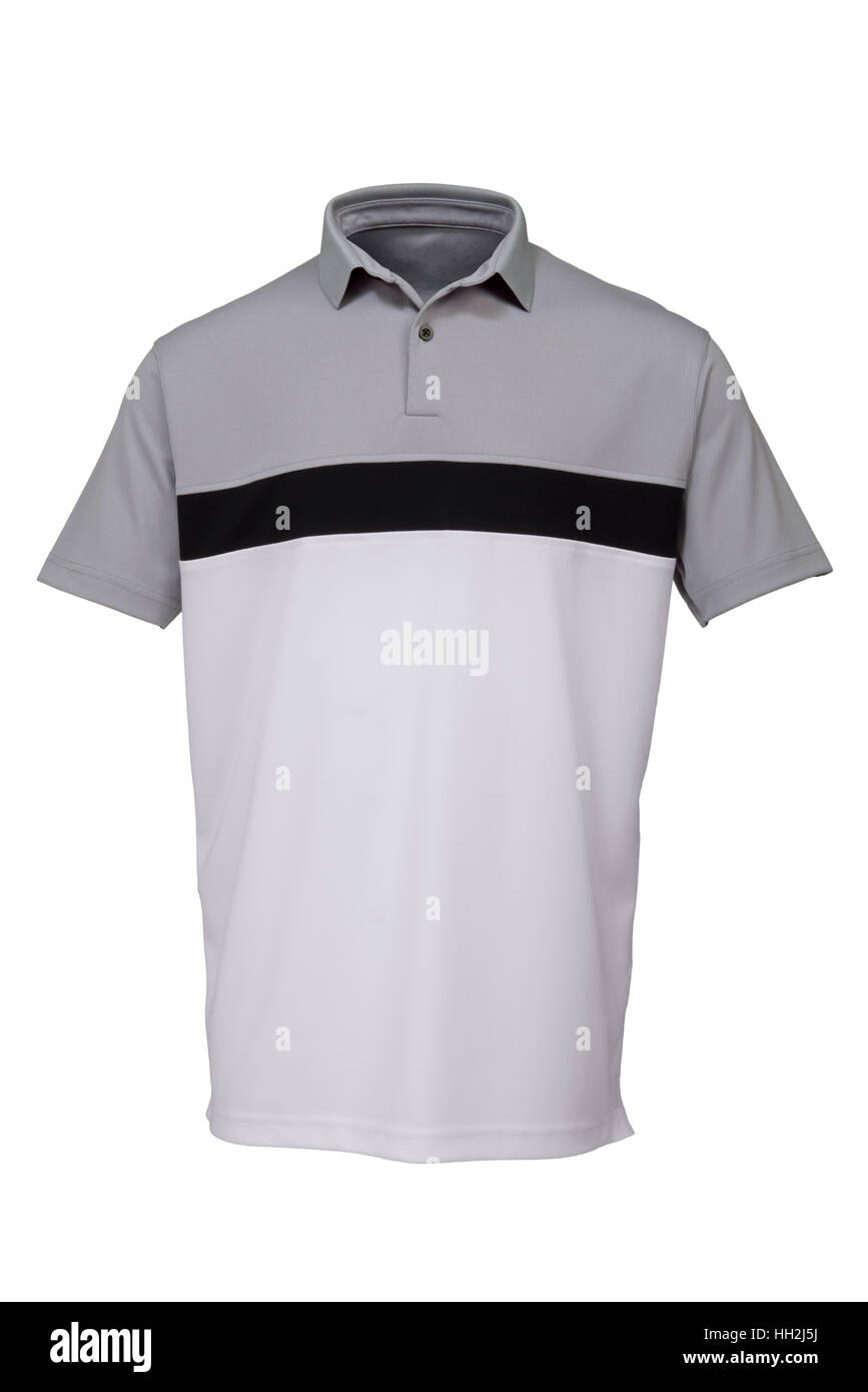 Grey, black and white golf tee shirt for man on white background - Stock Image