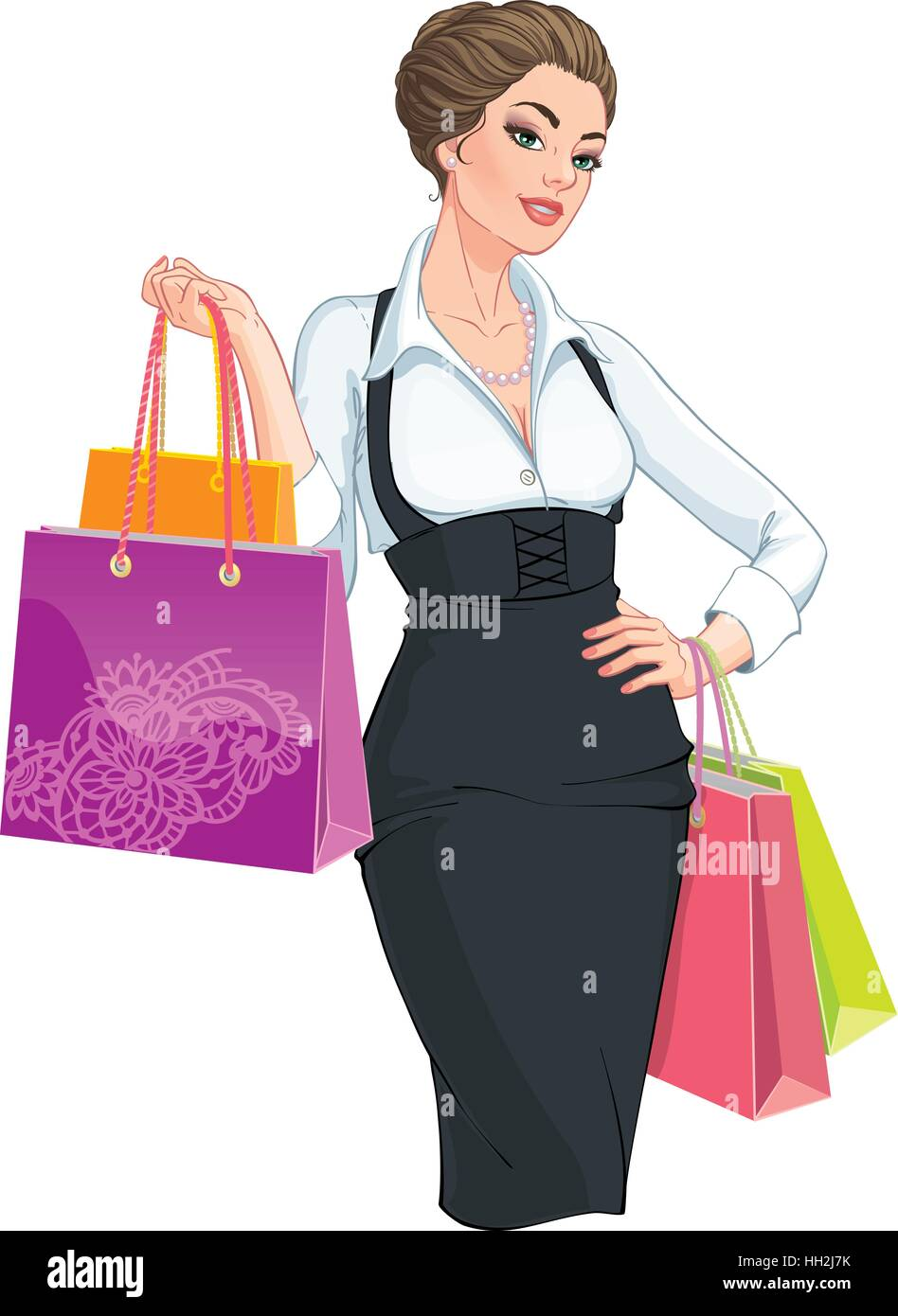 3e75c836e52 Vector Illustration. Happy young woman with shopping bags. Isolated ...