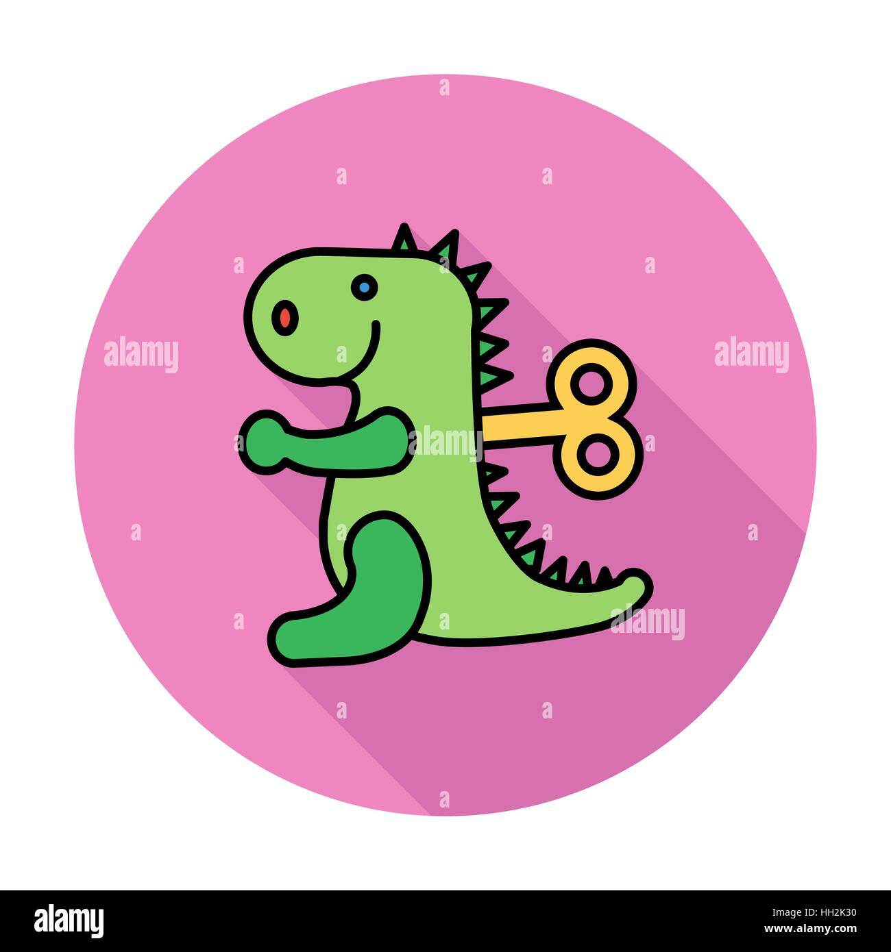 Dinosaurus toy icon. Flat vector related icon whit long shadow for web and mobile applications. It can be used as Stock Vector