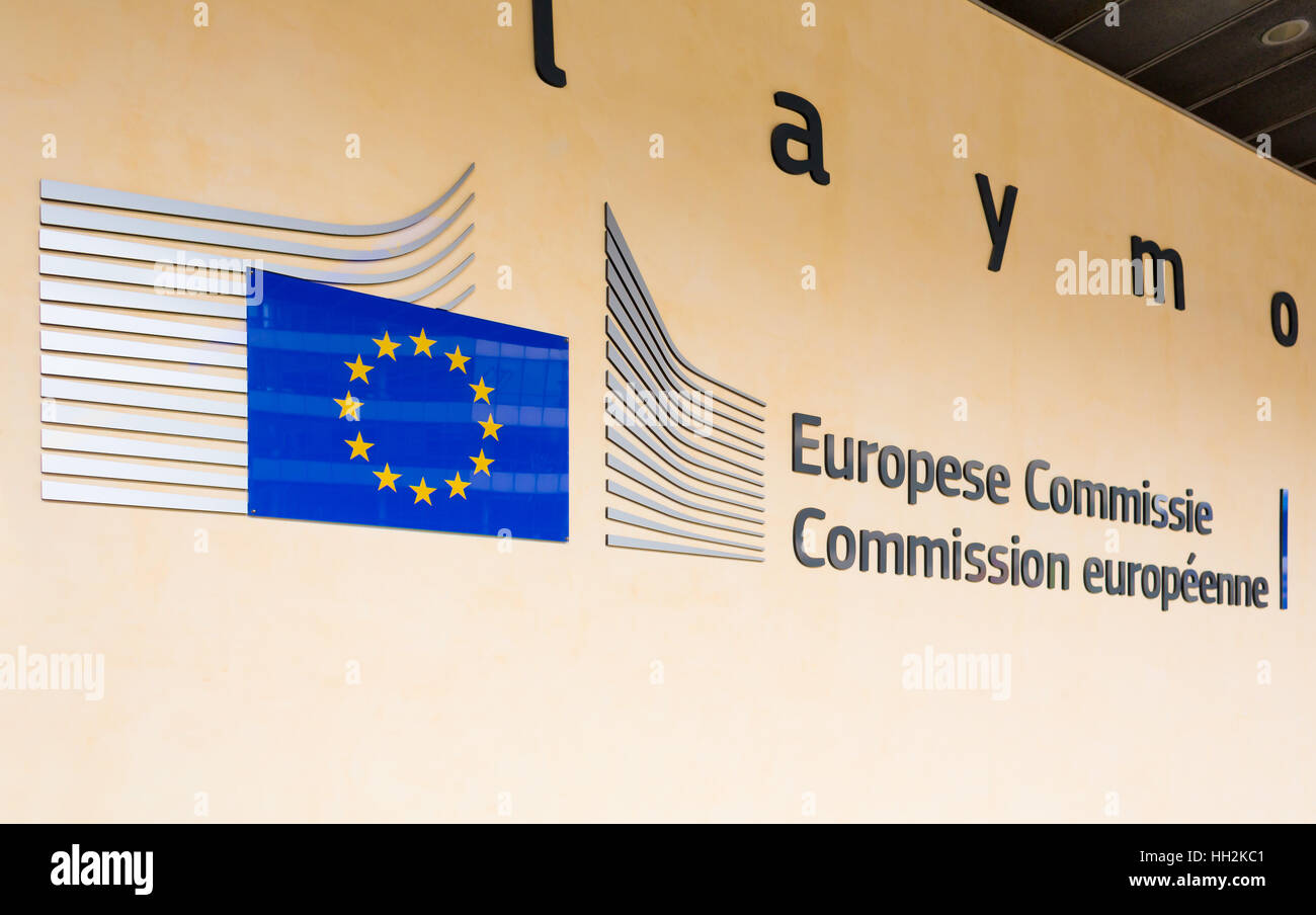 BRUSSELS, BELGIUM - AUG 9, 2014: Berlaymont building entrance. Berlaymont houses headquarters of European Commission. - Stock Image