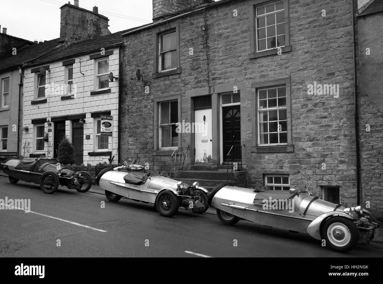 Pembleton 3 wheeled sports cars in Alston - Stock Image