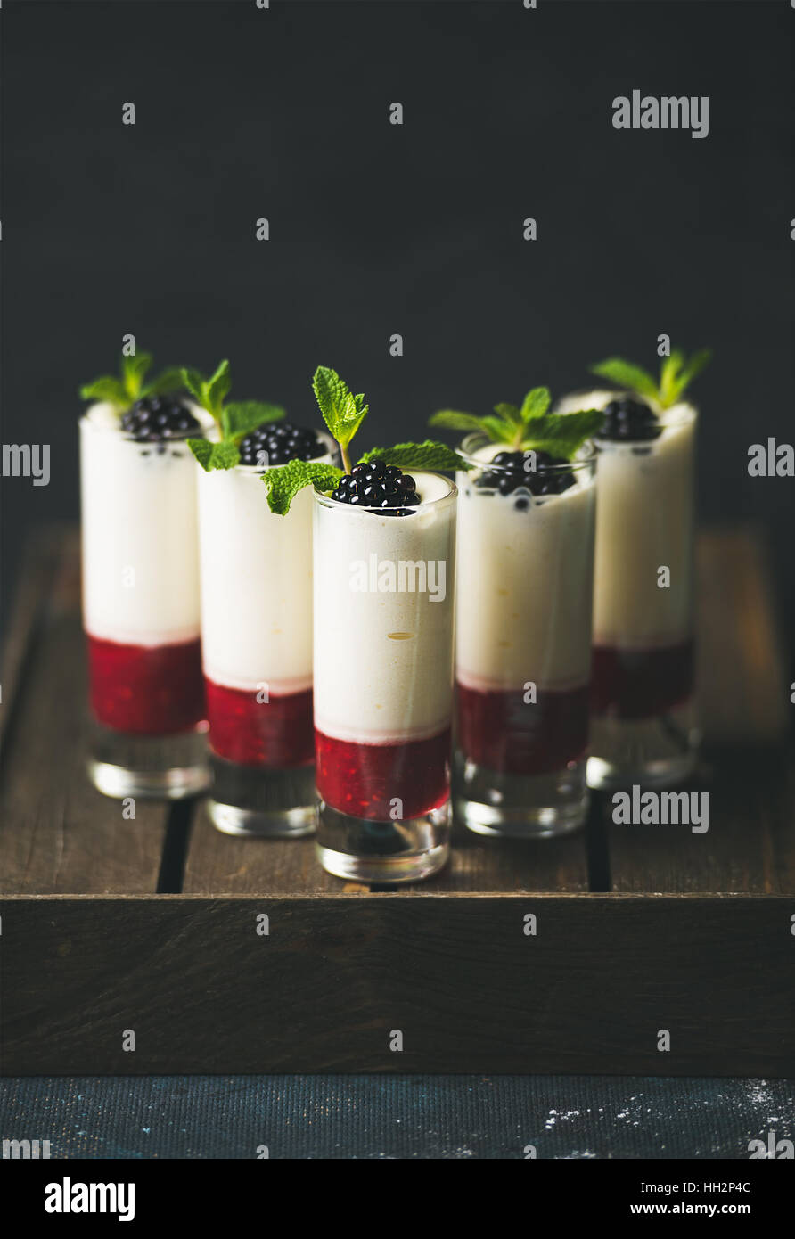 Homemade desserts with fresh blackberry and mint over dark background - Stock Image